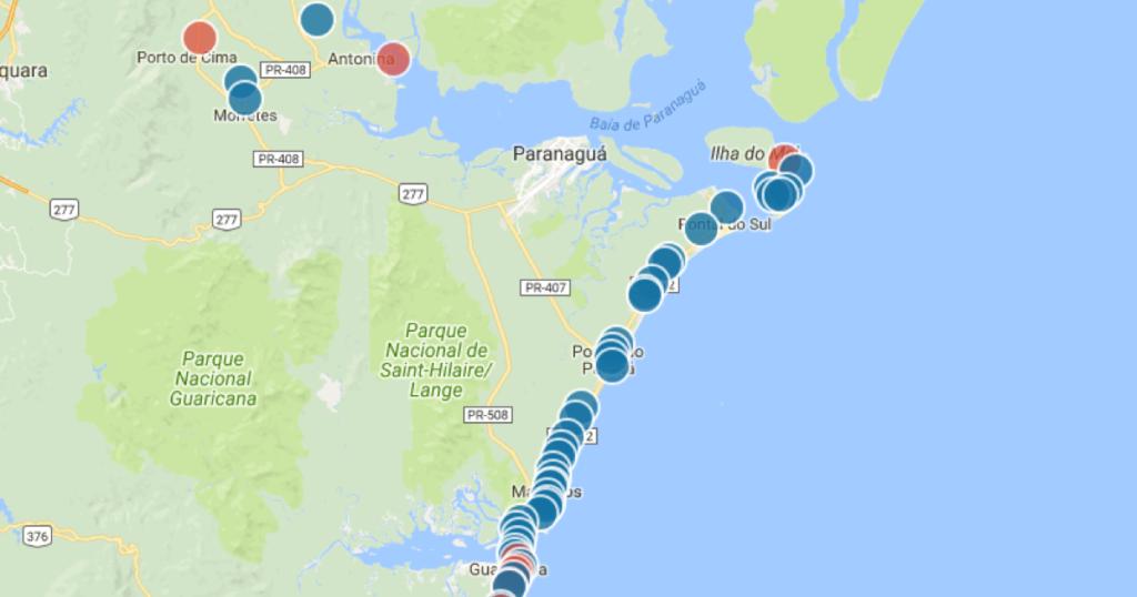 Praia limpa no PR: praias próprias para banho. Mapa de balneabilidade com a qualidade da água nas praias do Paraná