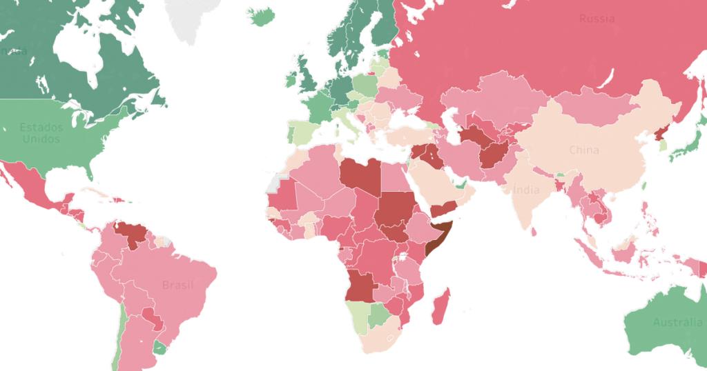 países mais corruptos e menos corruptos do mundo, segundo percepção dos moradores